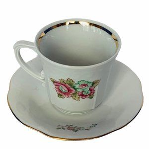 Chodziez Poland teacup antique tea cup saucer rose